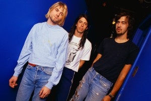 ca. 1992 --- Group portrait of Nirvana, from left to right are Kurt Cobain, David Krohl, and Krist Noveselic. Undated photograph. --- Image by © Joe Giron/CORBIS