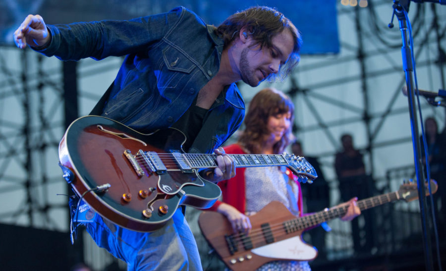 Silversun Pickups lead singer and guitarist Brian Aubert with bassist Nikki Monninger during the band's set Saturday at the KROQ Weenie Roast y Fiesta at Verizon Wireless Amphitheater.